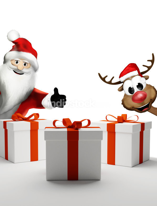 Santa Claus thumbs up and happy Reindeer with christmas gifts 3d