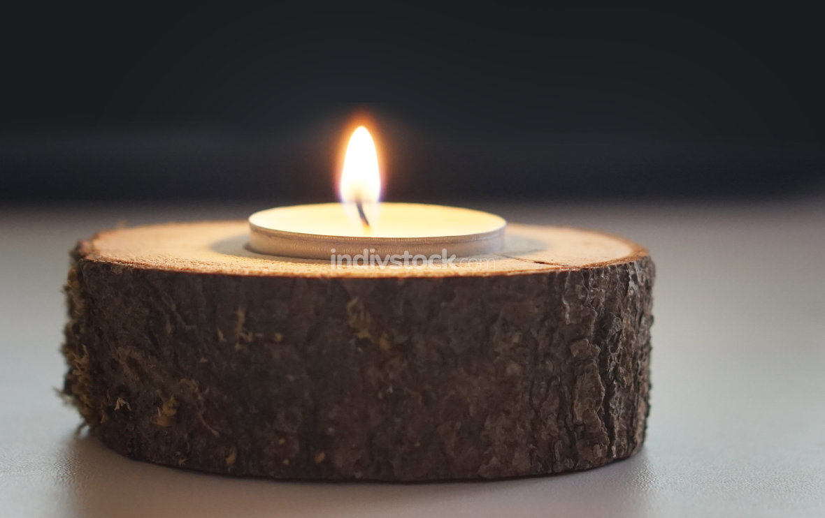 self made wooden candle decoration