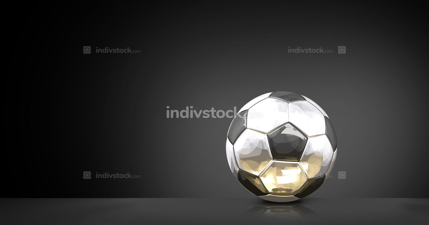 silver golden glossy soccer football ball 3d rendering