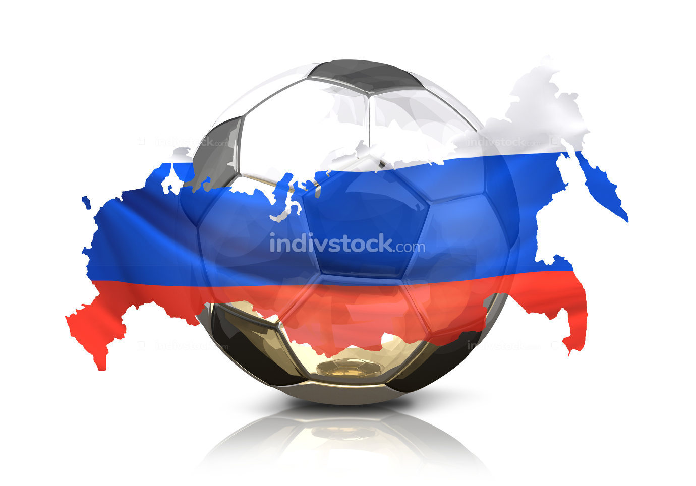 silver golden soccer football ball. Russia russian map. isolated