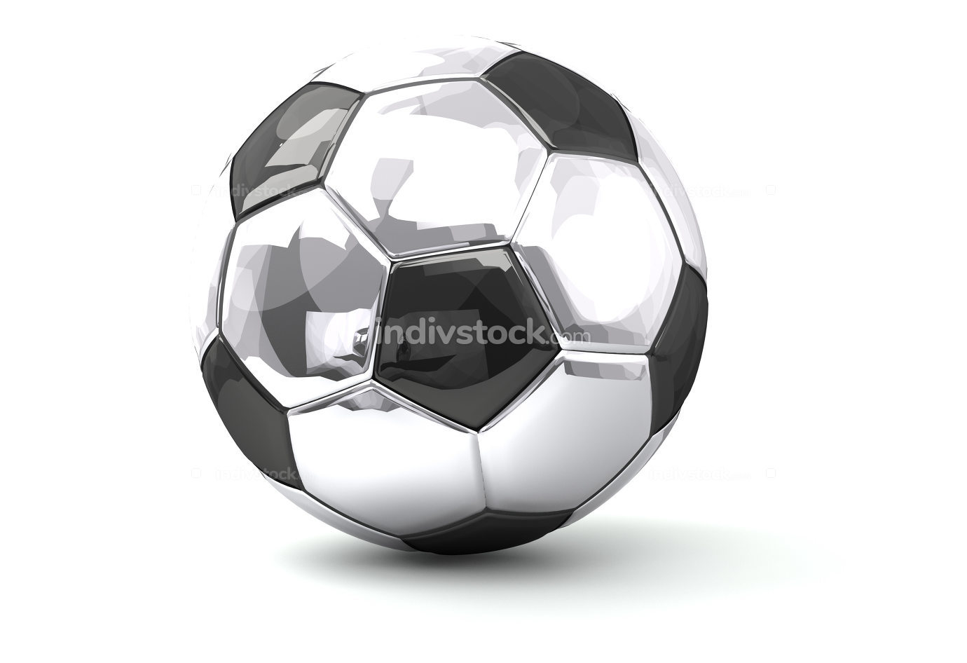 silver soccer football ball 3d rendering isolated