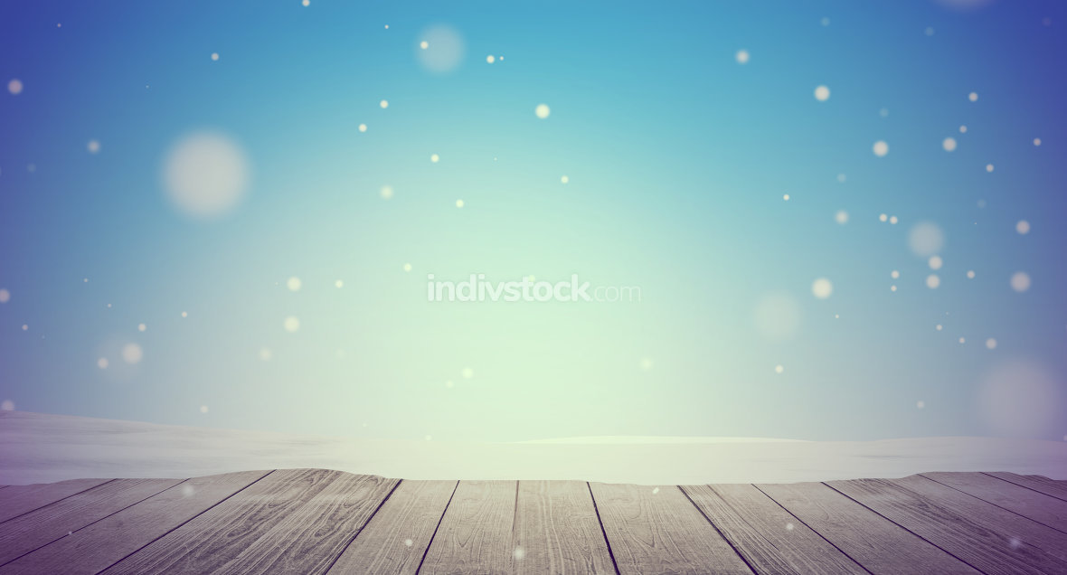 snow winter background 3d-illustration wooden floor with snowfla