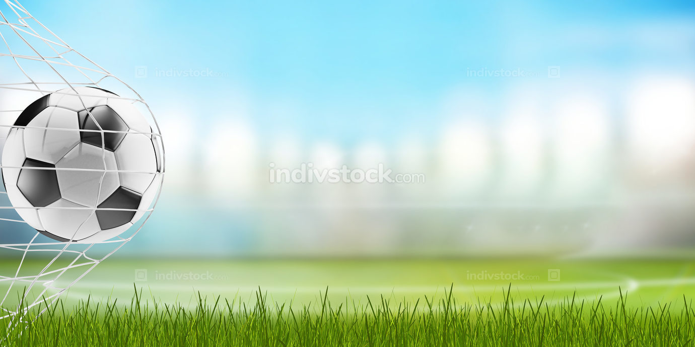 soccer ball and blades of grass with blurred soccer stadium 3d-i
