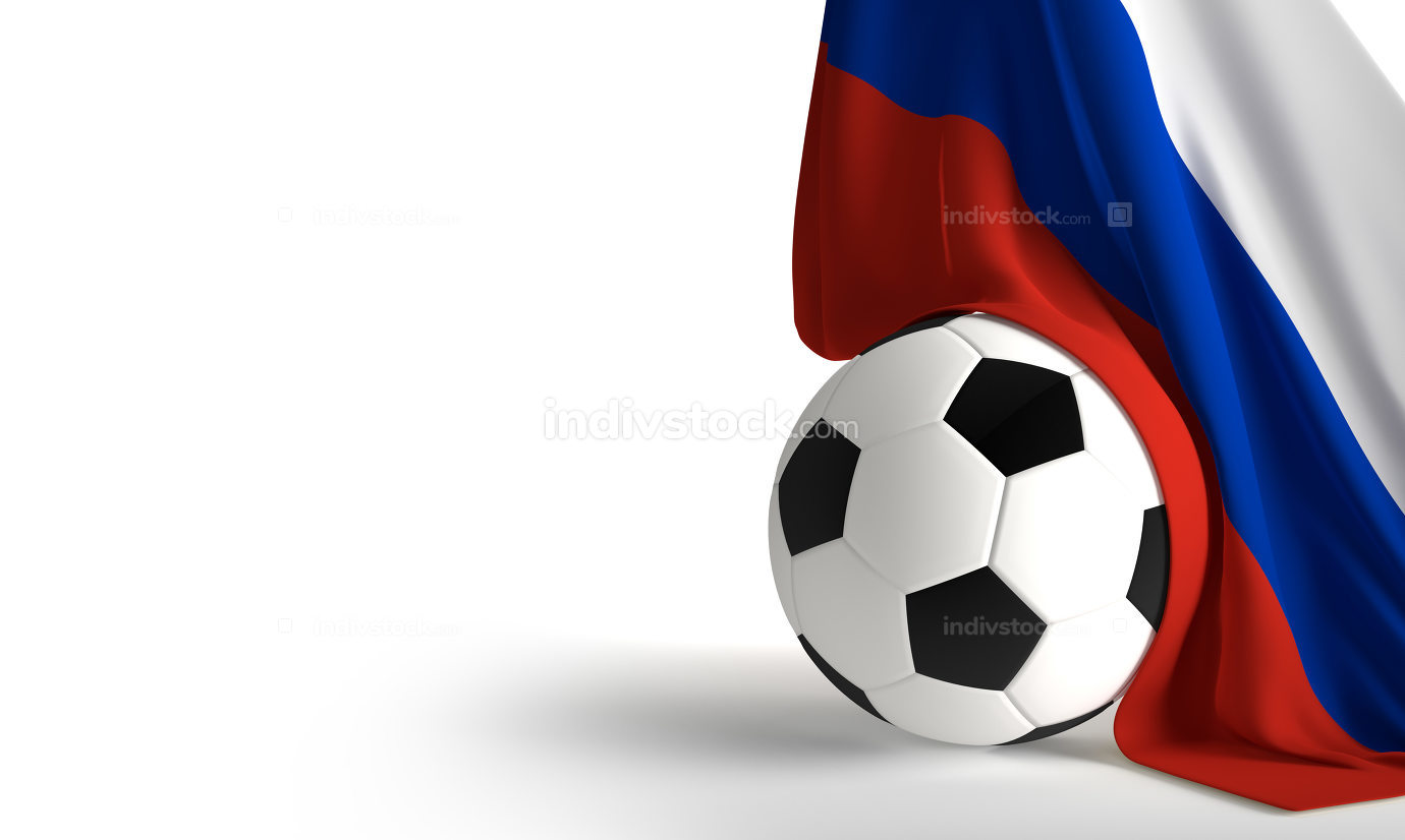 soccer ball flag of Russia 3d rendering