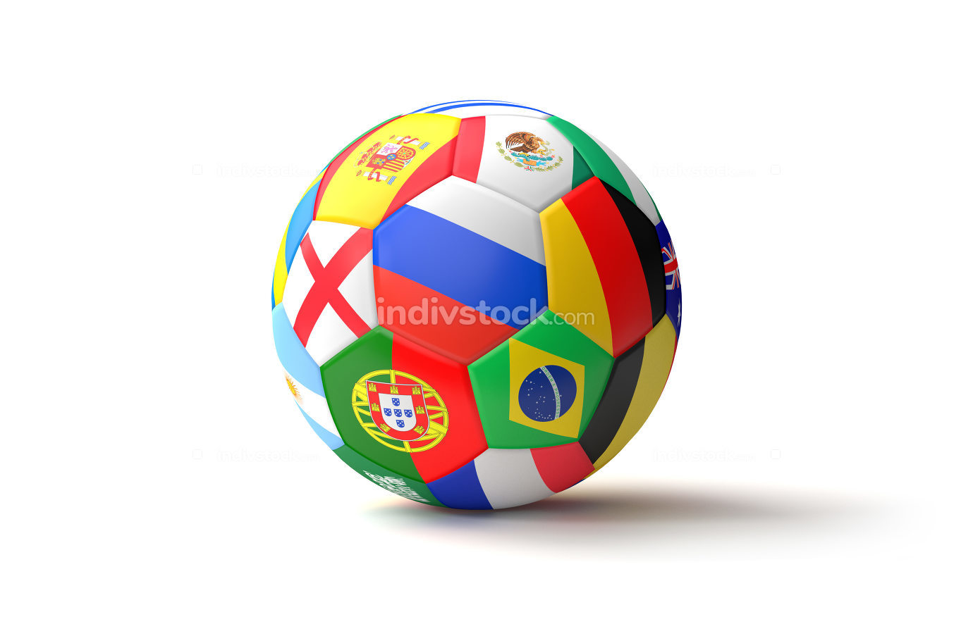 soccer ball flags 3d rendering