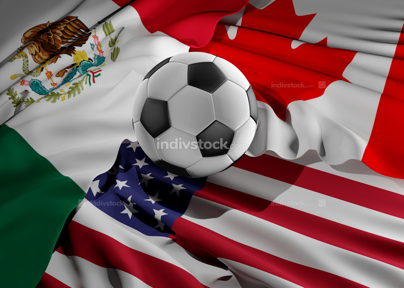 soccer ball flags of USA Mexico Canada 3d-illustration