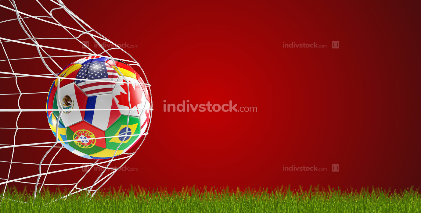 soccer ball flags soccer goal 3d-illustration