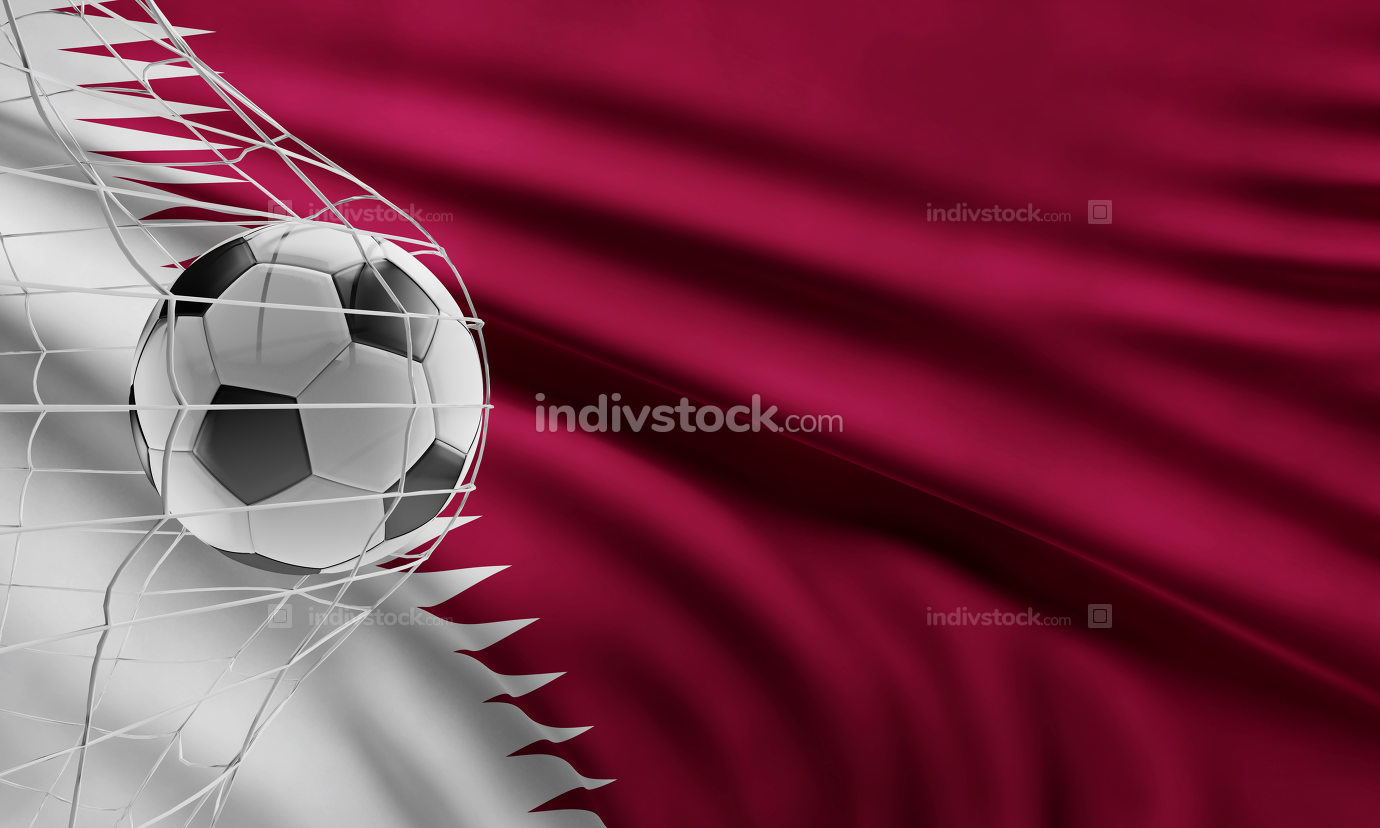 soccer ball front of flag of Qatar 3d-illustration