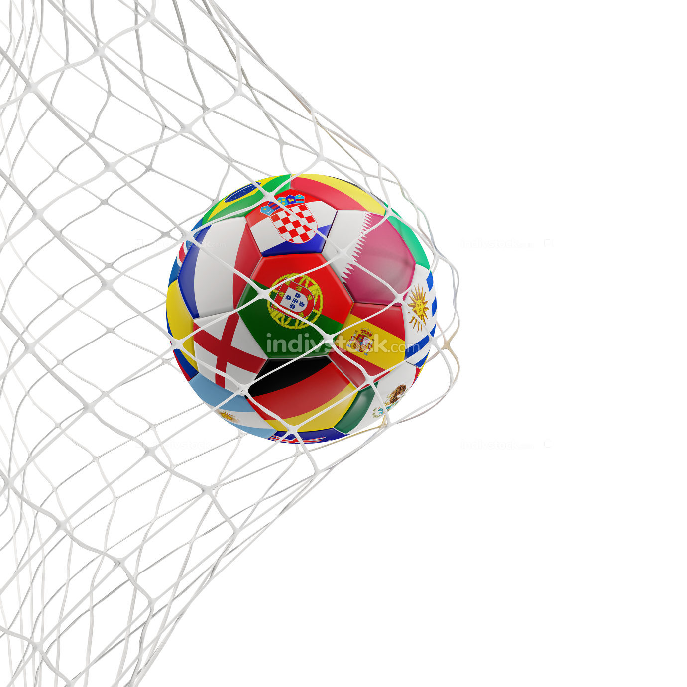 soccer ball in goal 3d-illustration