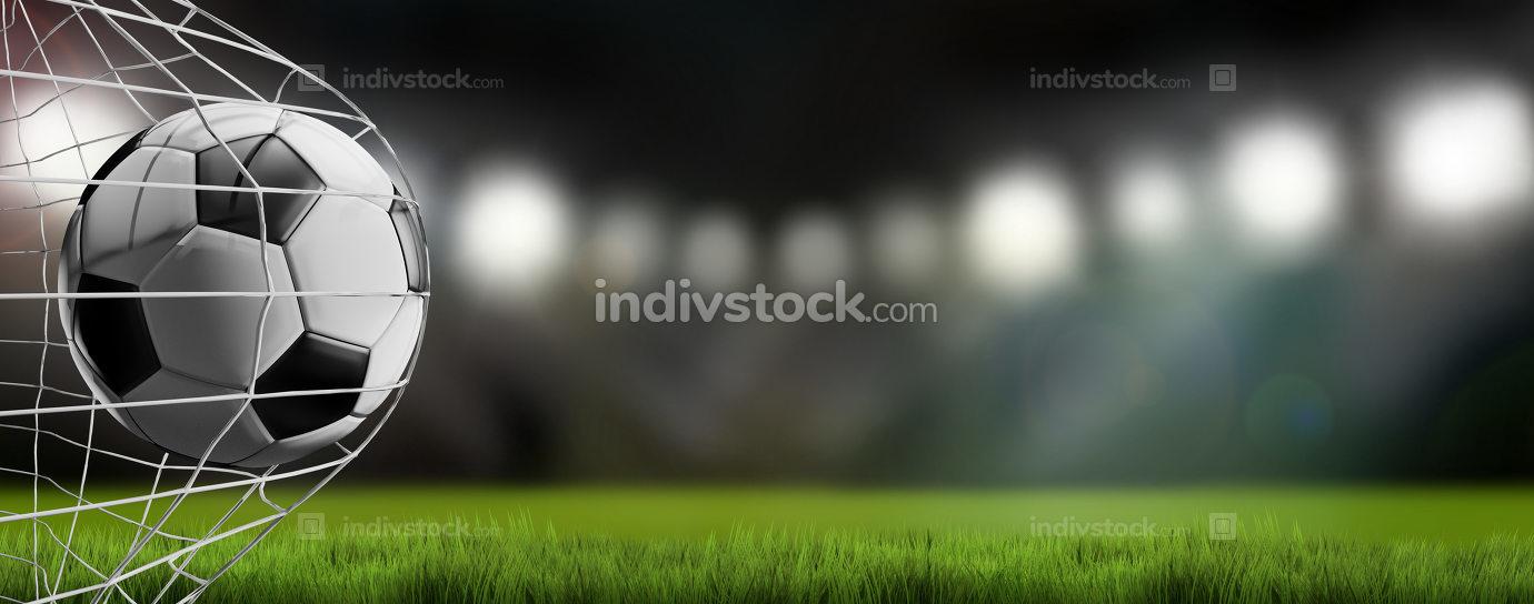 soccer ball in net. soccer goal 3d-illustration