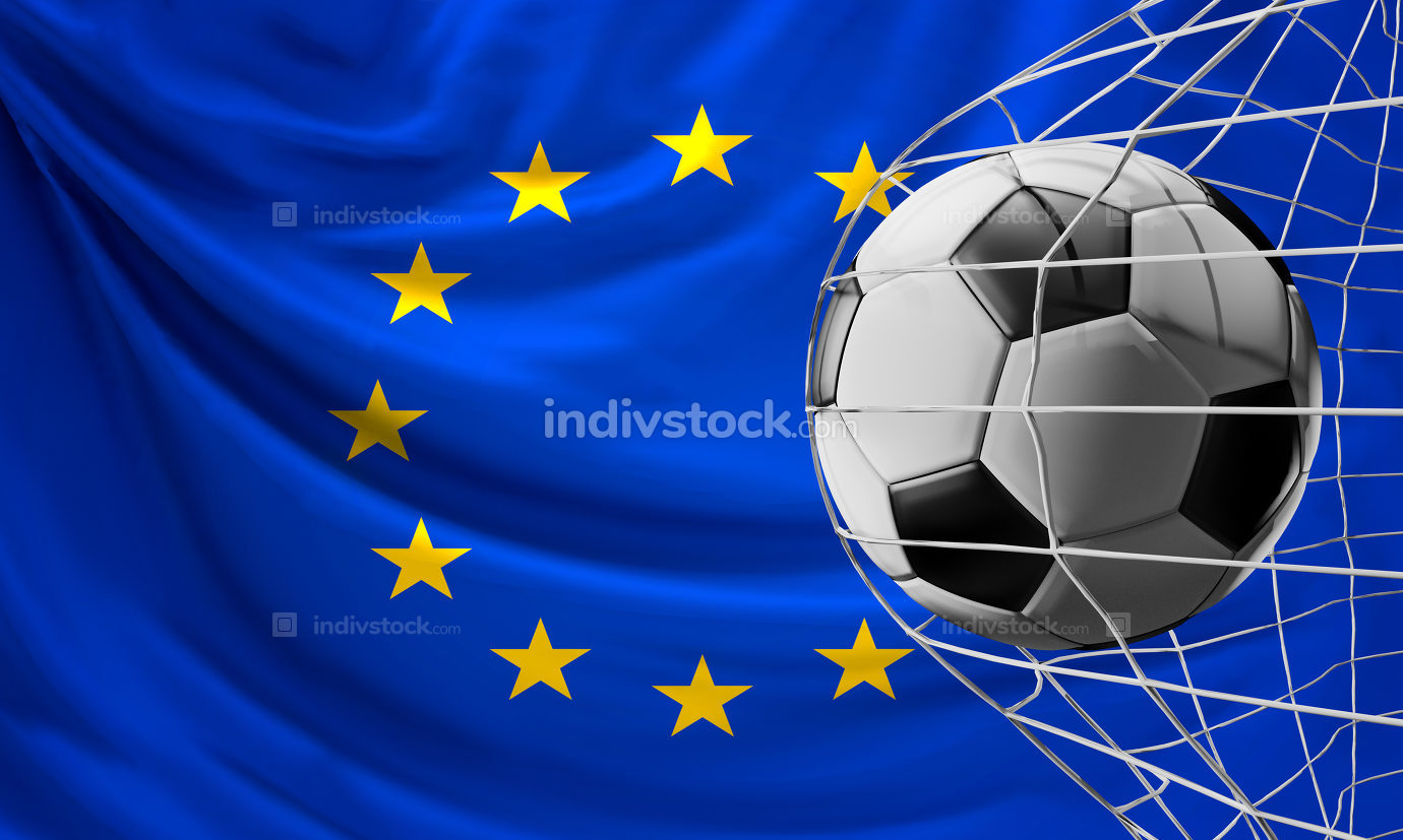 soccer ball in net. soccer goal 3d-illustration