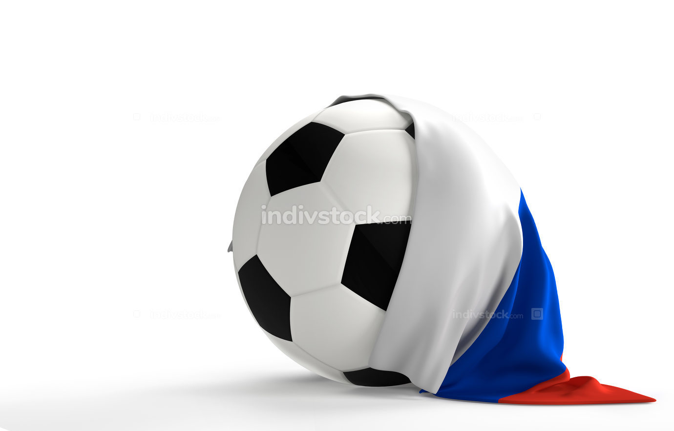 soccer ball Russia flag 3d rendering