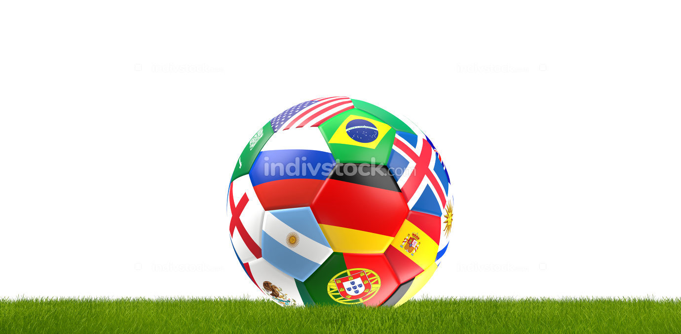 soccer ball russia flag design 3d rendering