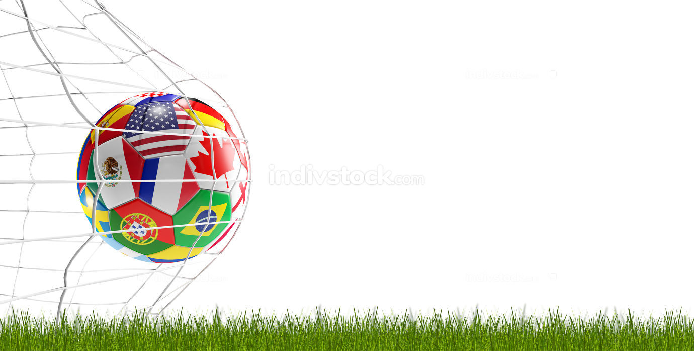 soccer ball soccer goal 3d-illustration