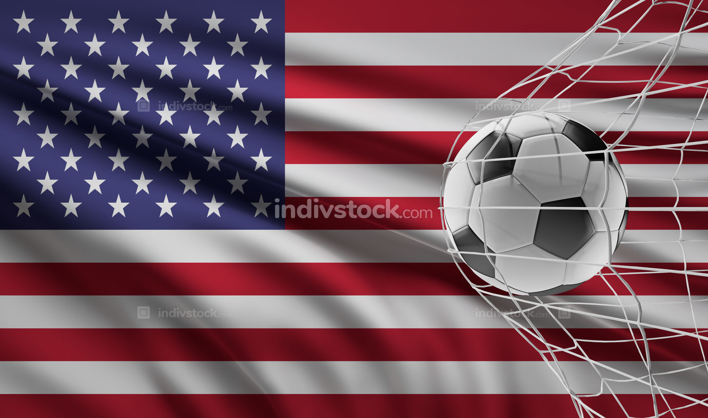 soccer ball soccer goal and flag of America 3d-illustration
