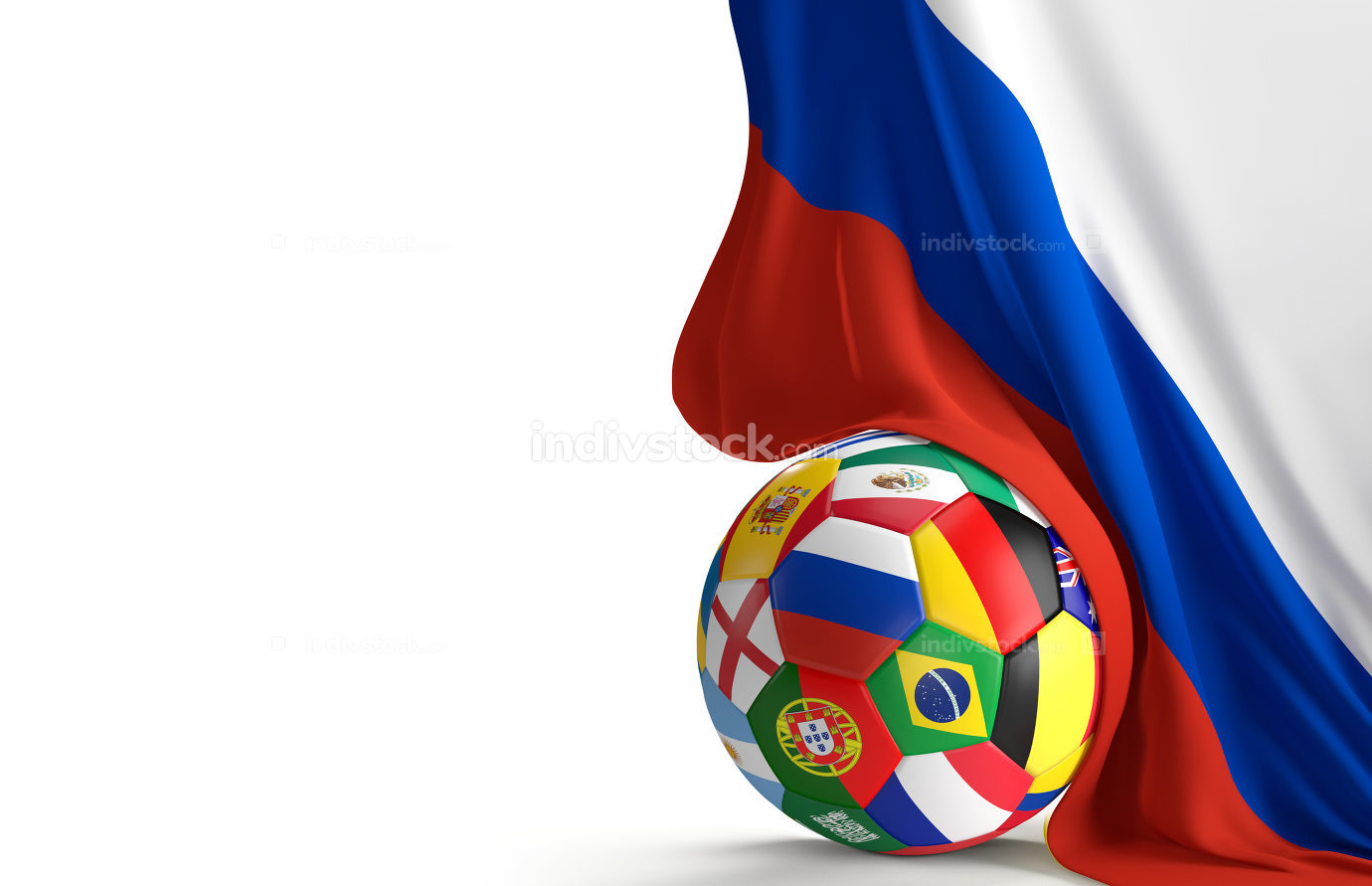 soccer ball with flag of Russia 3d rendering