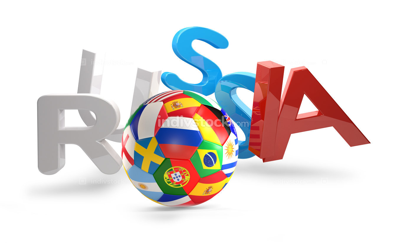 soccer ball with flags and bold letters written russia 3d render