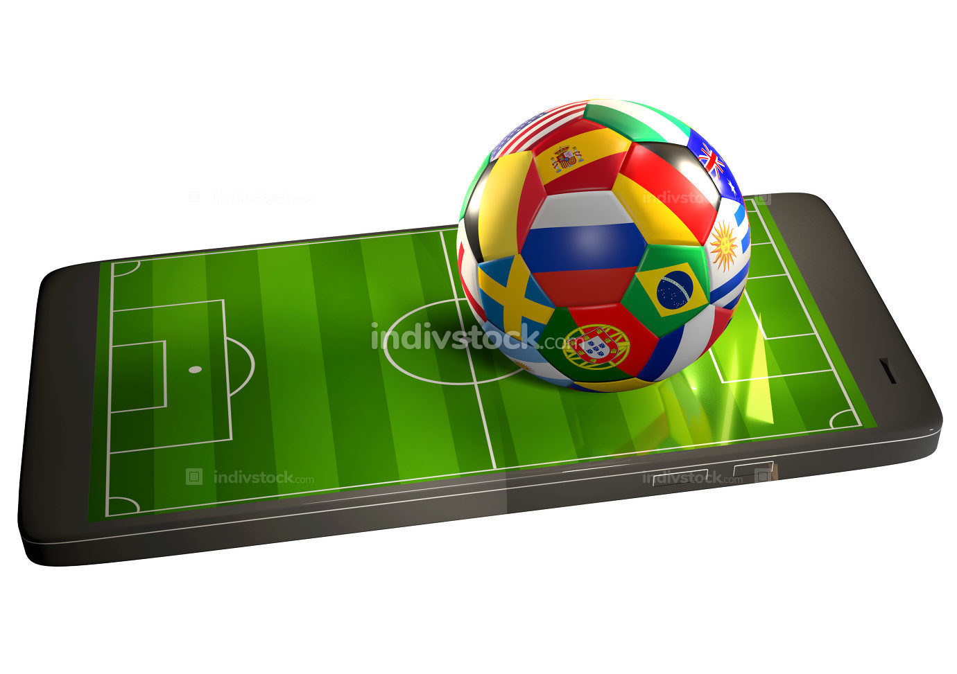 soccer ball with flags at mobile phone with soccer field 3d rend