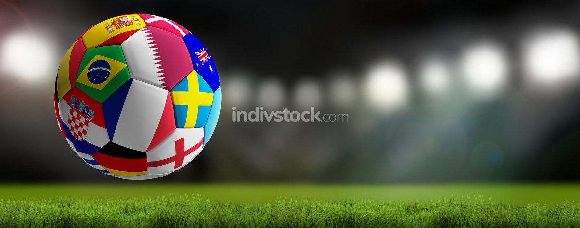 soccer ball with flags design Qatar 3d-illustration