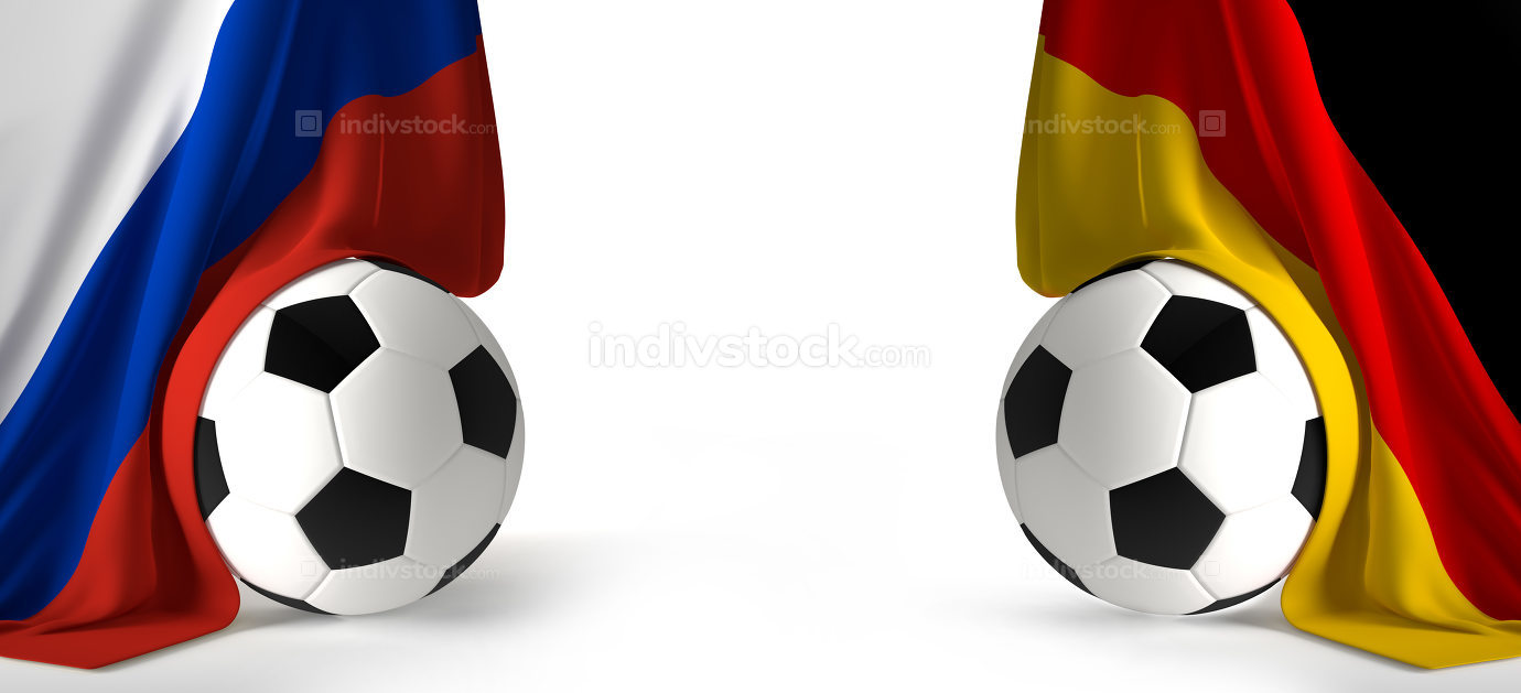 soccer ball with flags of Russia and Germany 3d rendering