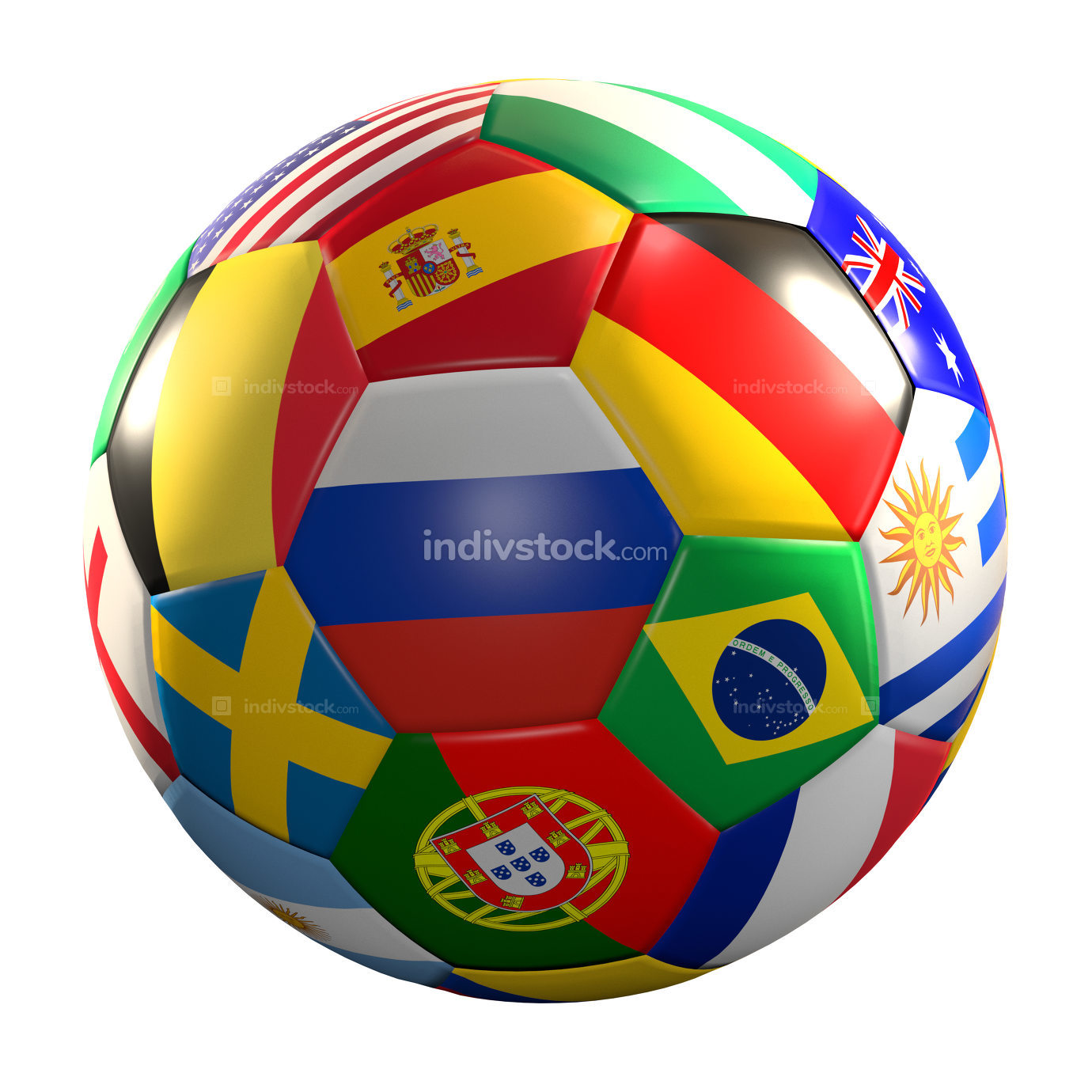 soccer ball with national flags 3d rendering isolated ball