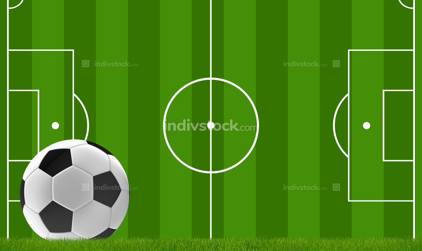 soccer ball with soccer field 3d rendering
