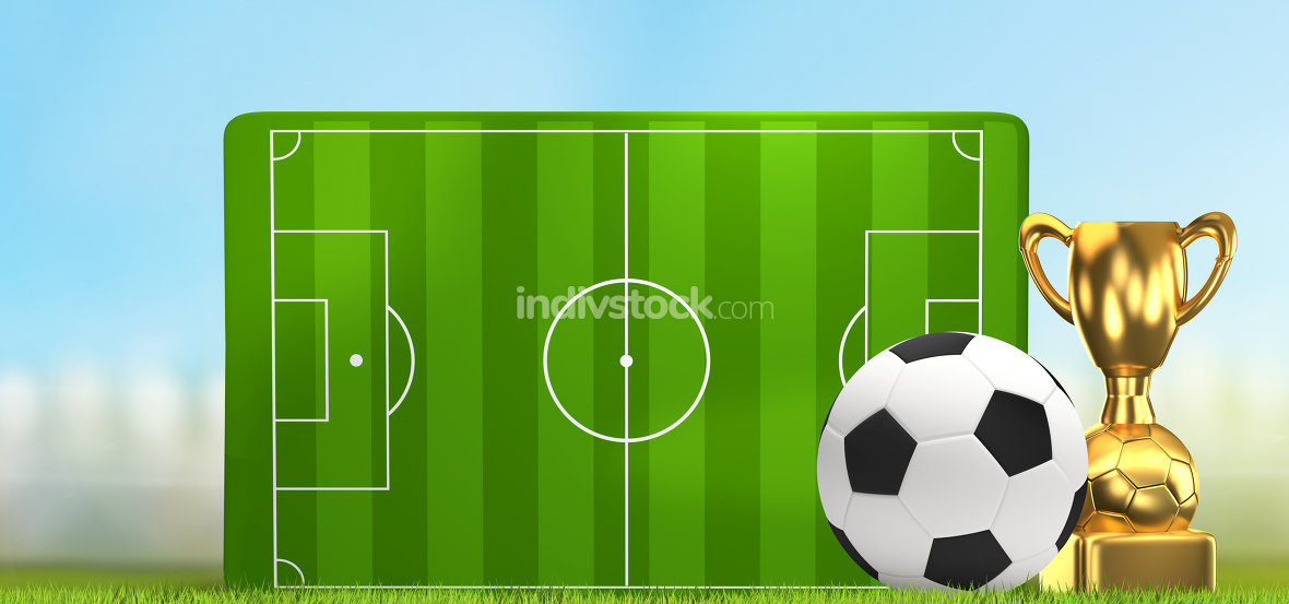 soccer field 3D illustration with golden trophy and soccer ball