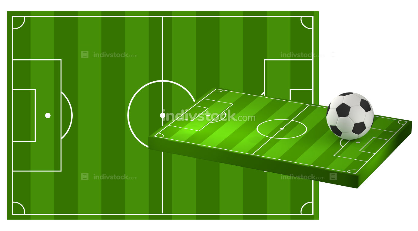 soccer field 3D illustration with soccer ball
