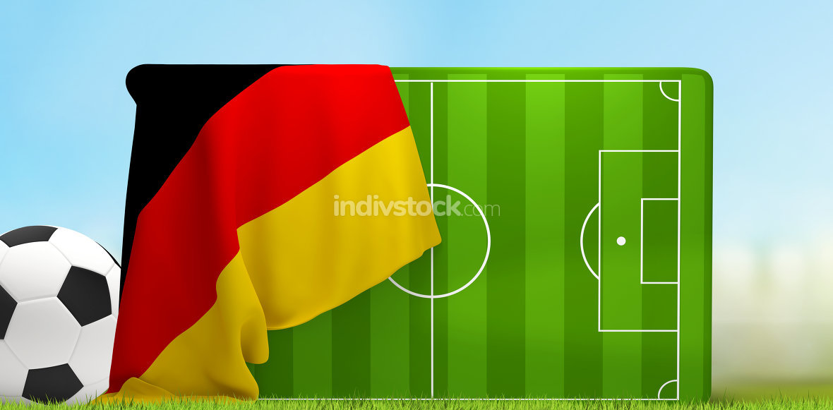 soccer field 3D illustration with soccer ball and flag of German