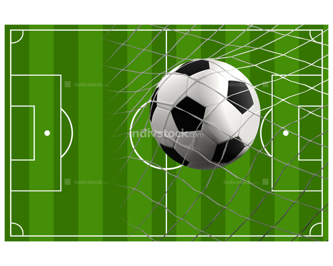soccer field soccer ball 3d illustration
