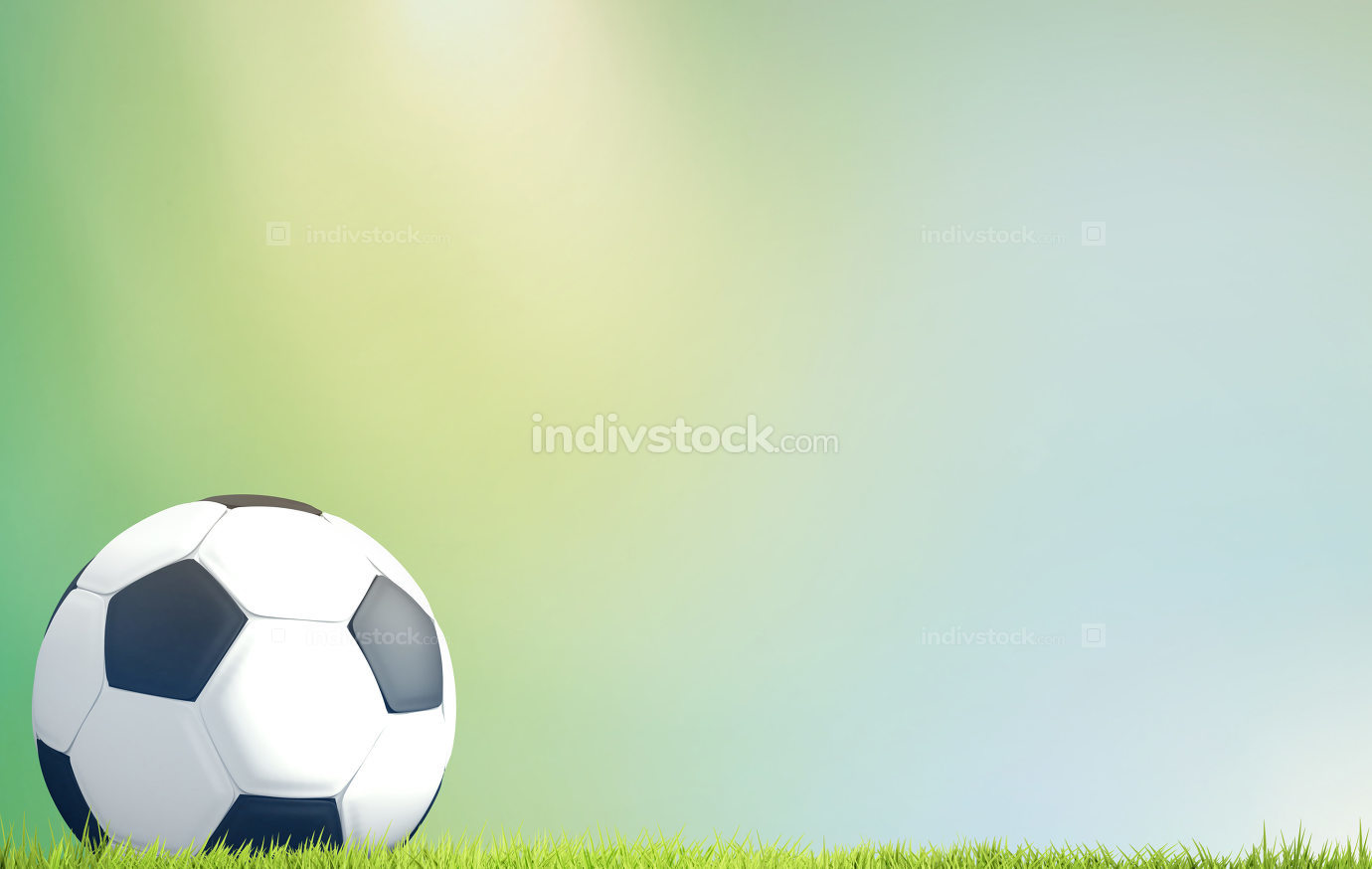 soccer football ball 3d rendering green grass blades of grass