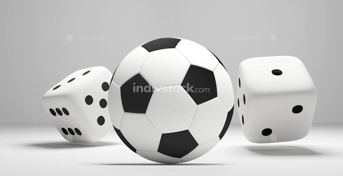 soccer football ball and rolling dices white 3d rendering isolat
