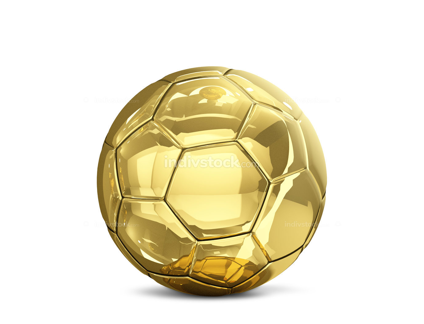 soccer football ball golden 3d rendering isolated