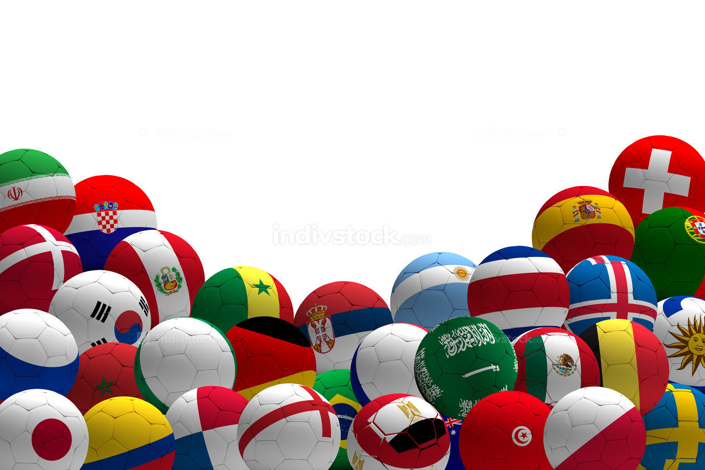 soccer football ball teams 3d rendering