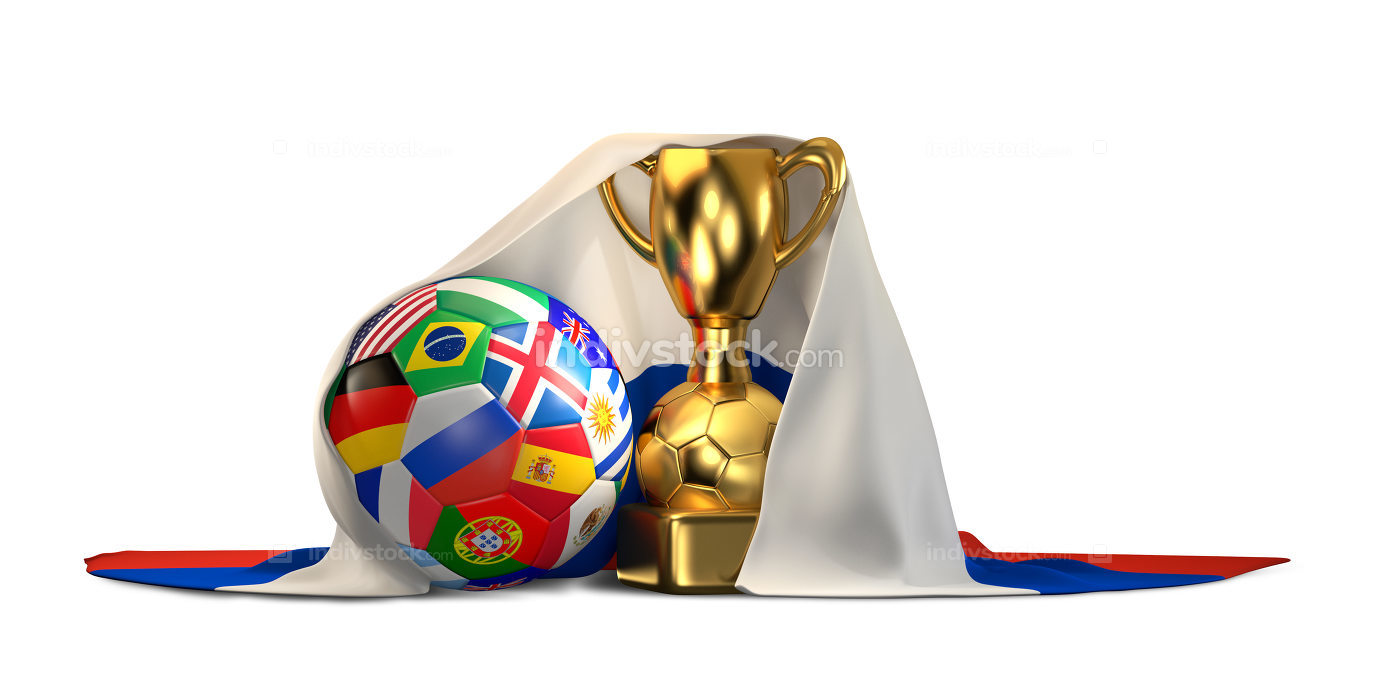 soccer football ball with golden trophy and flag of Russia 3d il