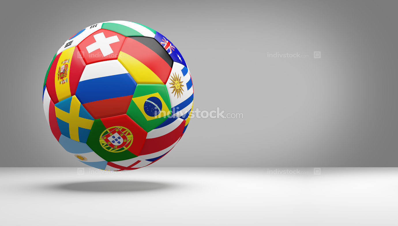 soccer football ball with national flags 3d rendering isolated d