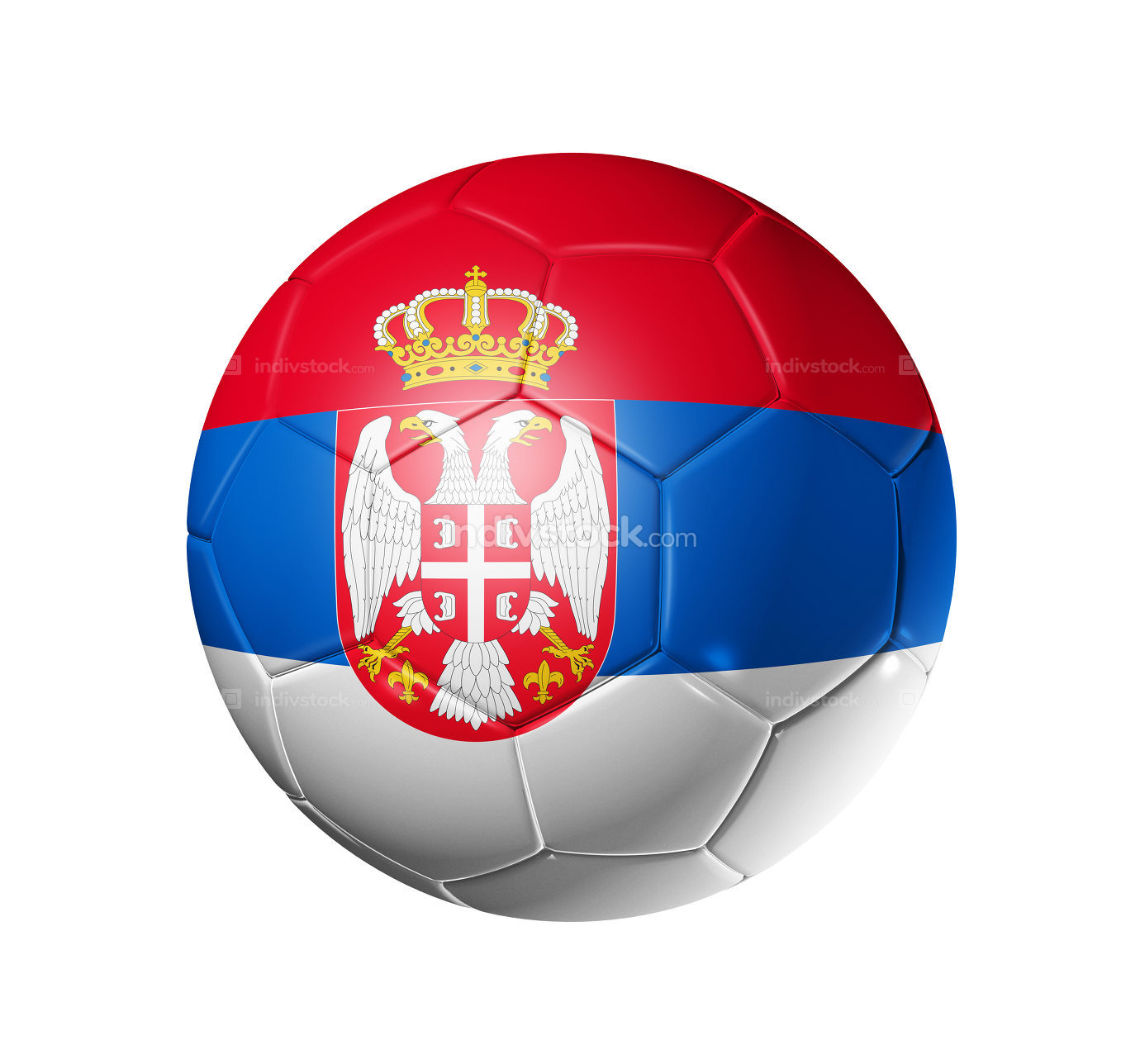Soccer football ball with Serbia flag