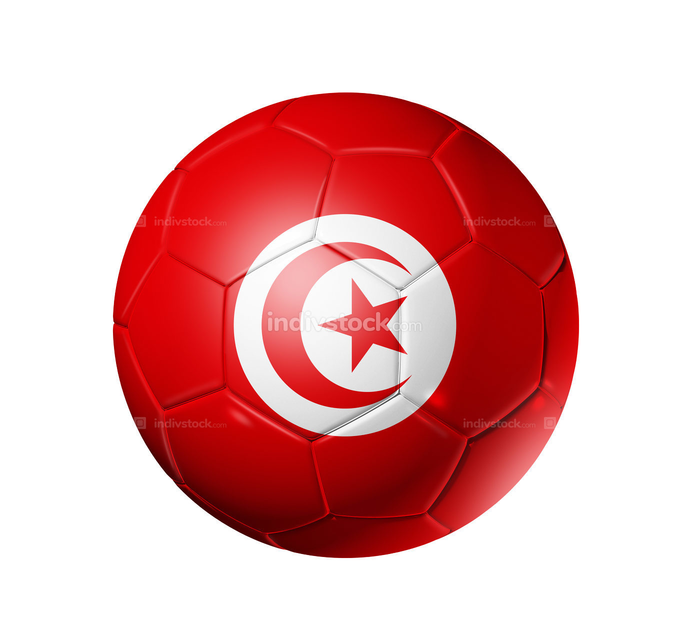 Soccer football ball with Tunisia flag