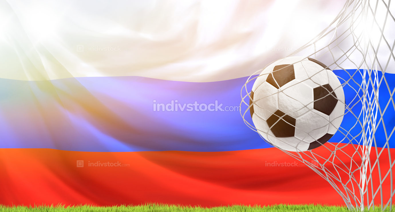 soccer goal soccer ball flag of Russia 3d rendering