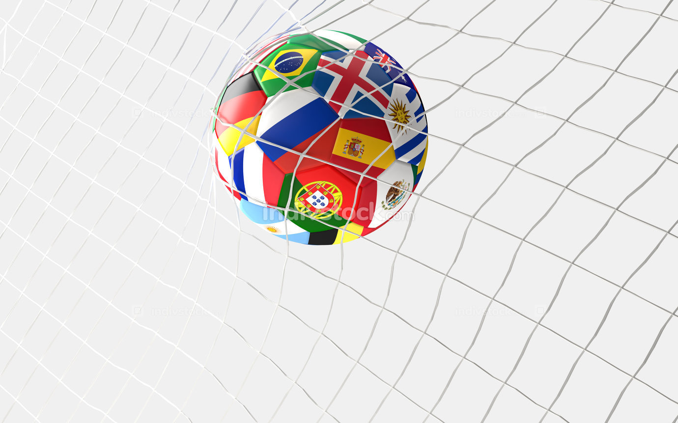 soccer goal. soccer ball flags concept in soccer net 3d renderin