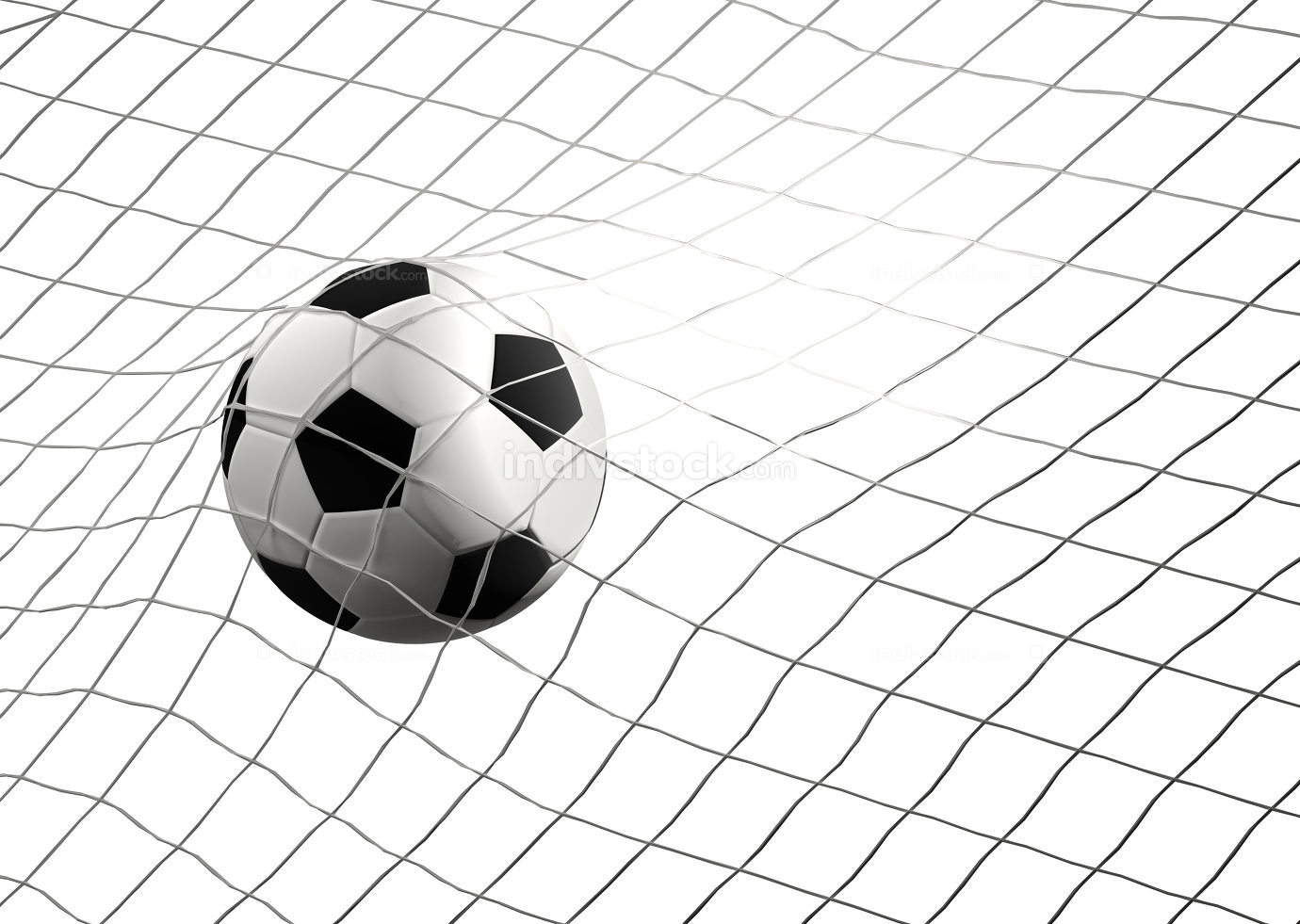 soccer goal with soccer ball at soccer net 3d illustration