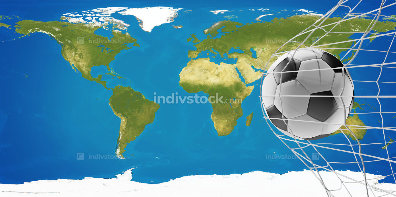 soccer goal world map 3d-illustration. elements of this image furnished by NASA