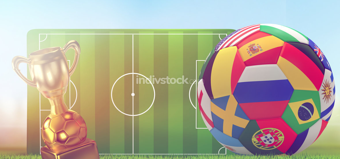 soccer trophy soccer ball with soccer field 3d rendering