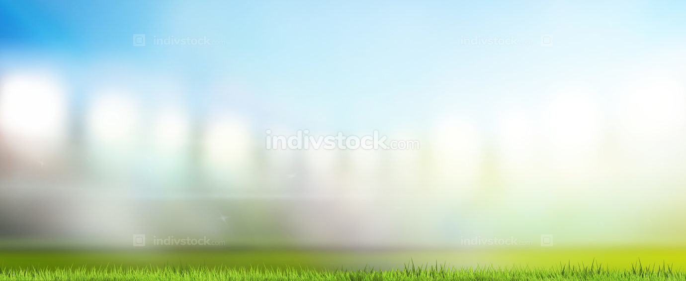 sports stadium with flood lights blurred background 3d rendering