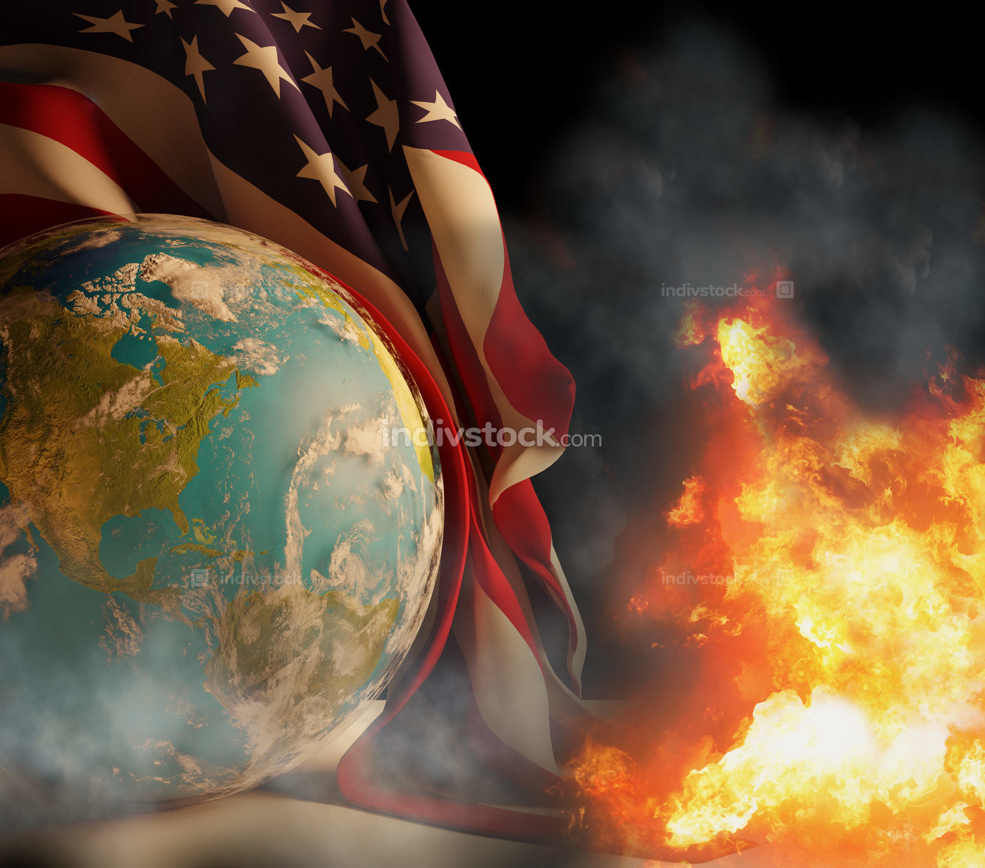 state of emergency with world globe and flag of the United state