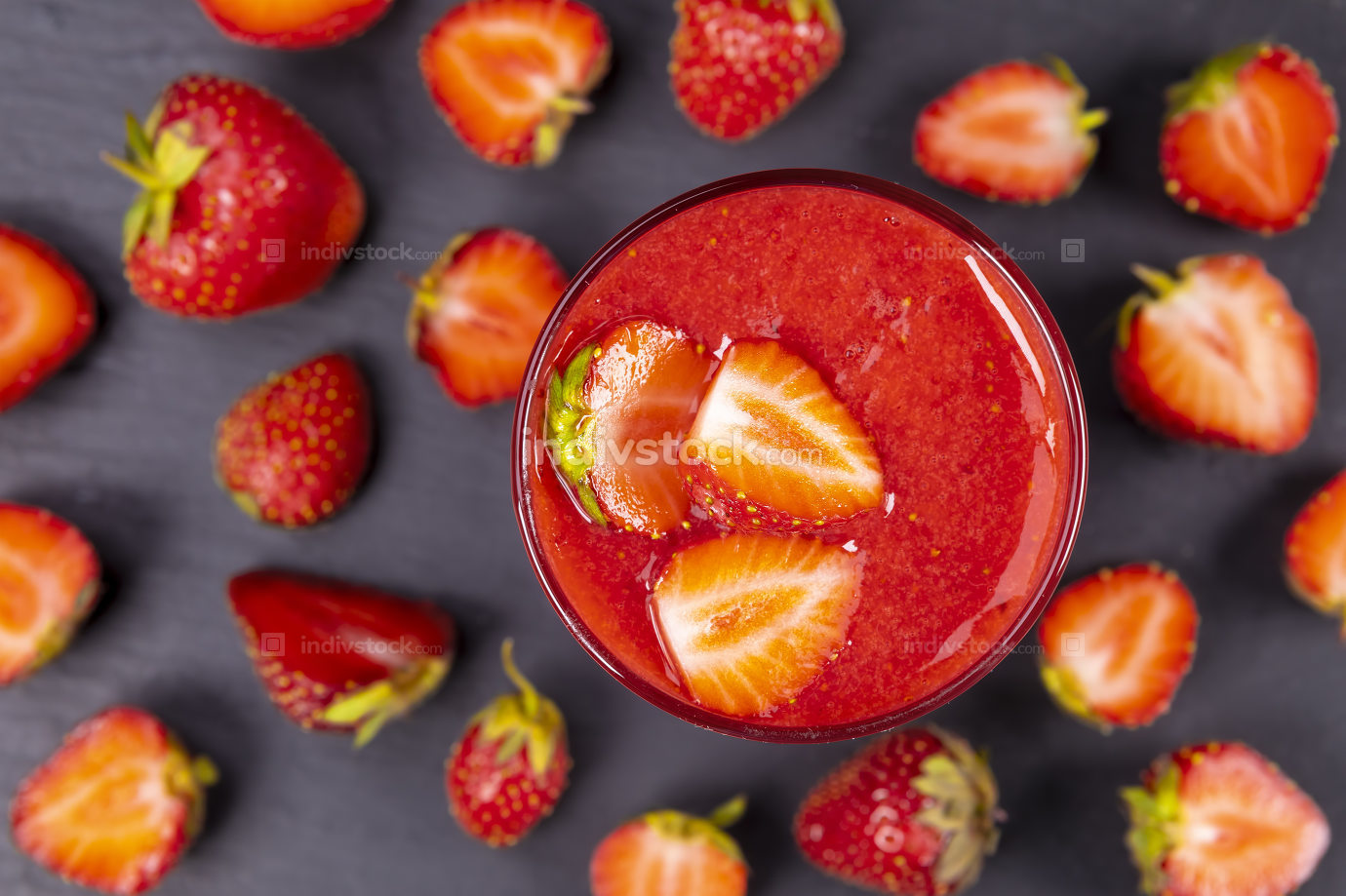 Strawberry in fresh smoothie