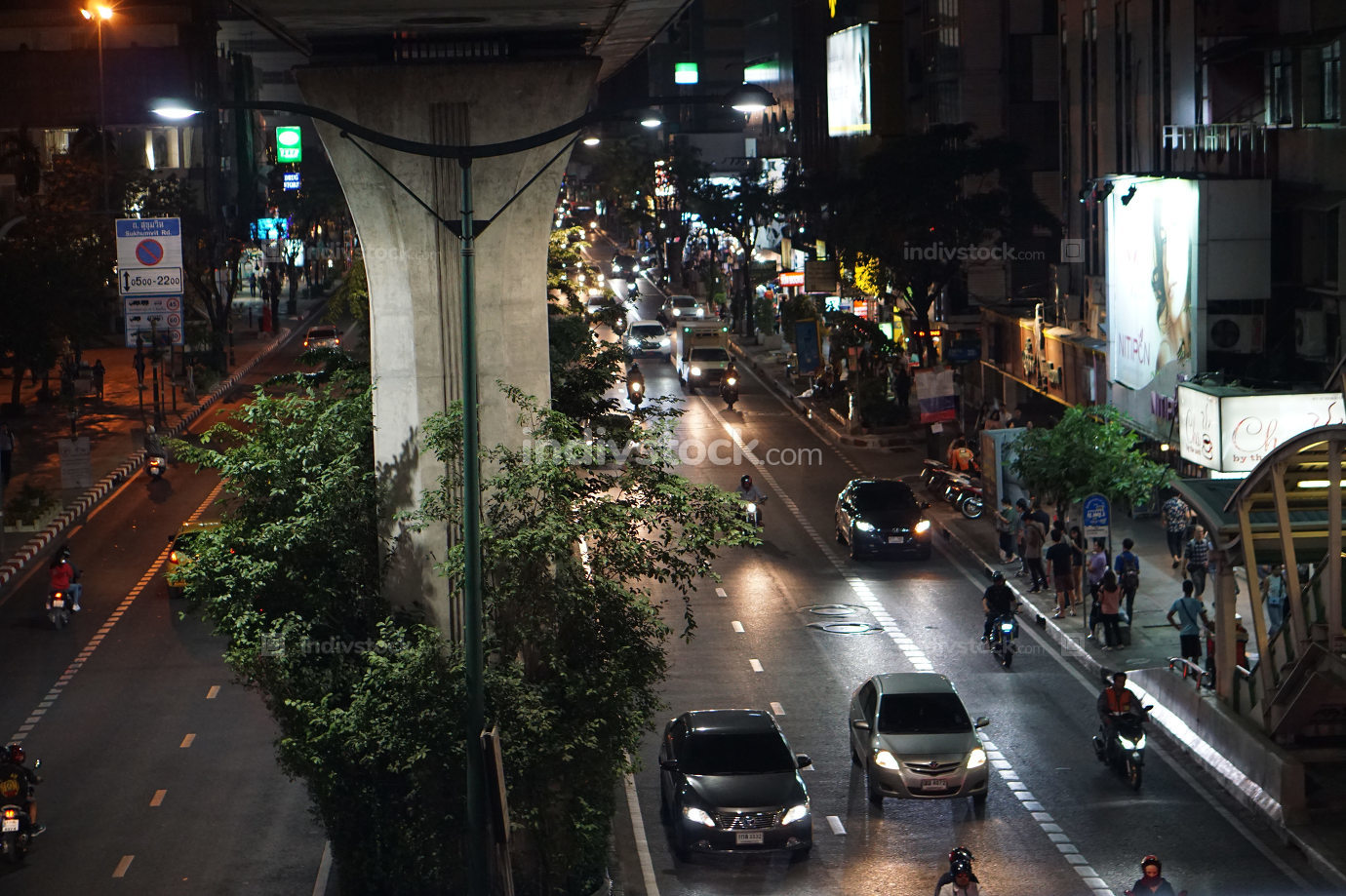 Street scene with cars and at early evening in Thailand Bangkok