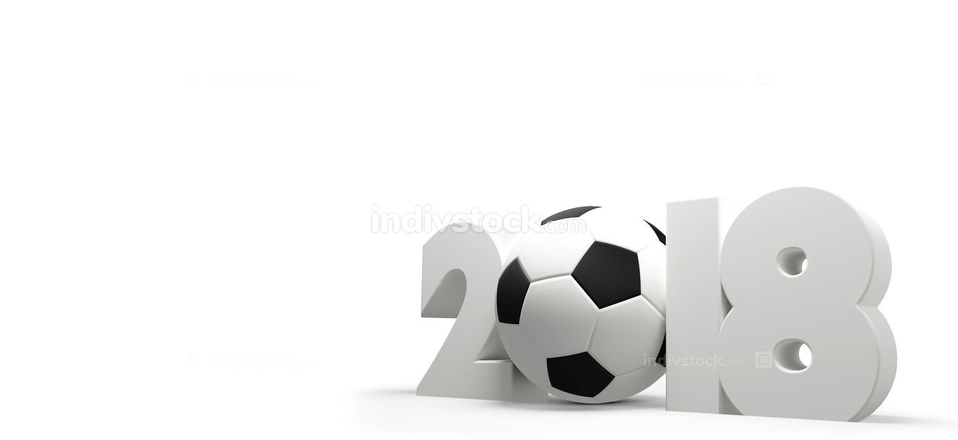 symbol 2018 white soccer football ball bold letters 3d rendering