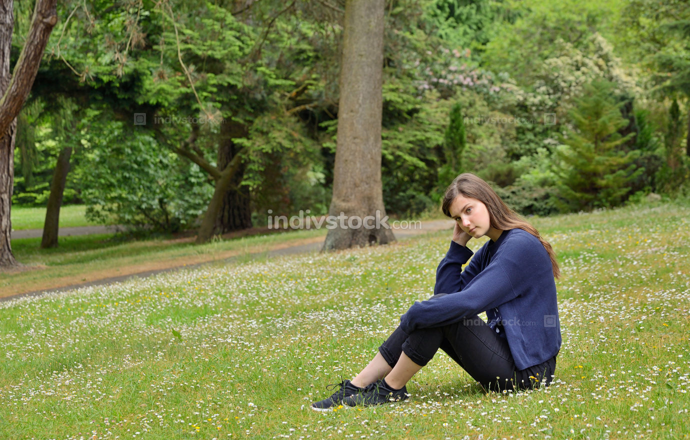 Teen girl in park