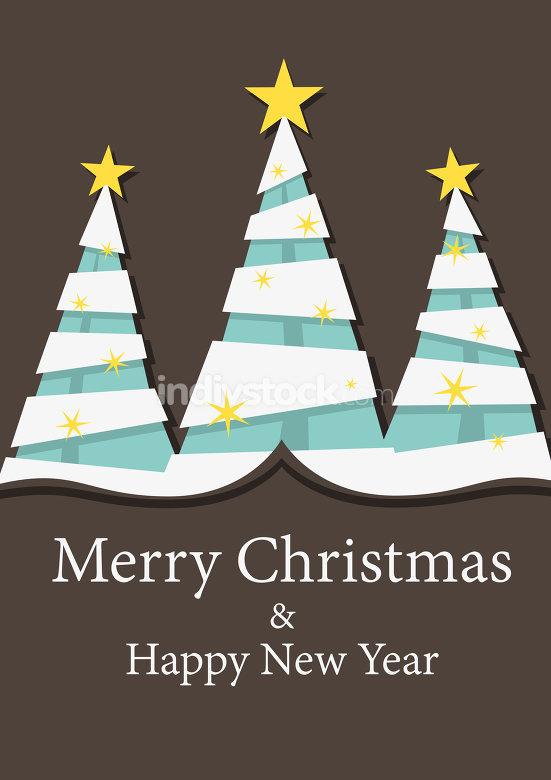 three fir trees christmas decoration background